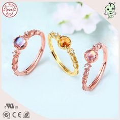 Hot Sale Popular Classic And Delicate Design Pink Gold 925 Real Silver Engagement Ring With different Natural Stones #Affiliate