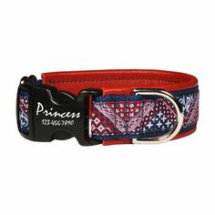 Bandana Print Dog Collar - love it! Perfect for summer on my pooch - Red, White and Blue for the 4th! Plus, dog's name is engraved right on the buckle!