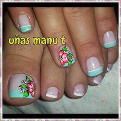 Pedicure Designs, Toe Nail Designs, Toe Nail Art, Toe Nails, Cute Pedicures, French Pedicure, Nail Tips, Summer Art, Finger
