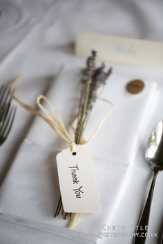 sprigs of lavender as favors/name markers on place settings