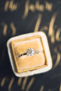 Classic princess cut solitaire diamond engagement ring: http://www.stylemepretty.com/texas-weddings/fort-worth/2015/12/15/a-rainy-romantic-fort-worth-fall-elopement/   Photography: Bethany Erin - http://www.bethanyerinweddings.com/
