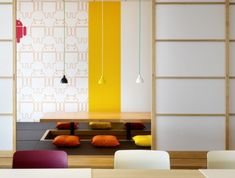 Just because Google was started in America does not mean they have eschewed Japanese cultural elements in creating this office. This meeting room features floor cushions and low table in the traditional Japanese style, but still incorporates the pervasive Android theme and an eclectic color scheme.