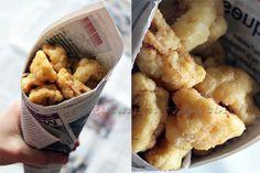 Nuggets de Choufleur  1 kg de chou fleur 5 cas de fécule + 10 cas d'eau 200g de farine de pois chiche sel au goût Huile à frire