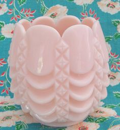 Fostoria Diamond and Swags Pink Milk Glass Rose by ExtraSprinkles, $24.99