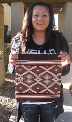 4th Generation Navajo Weaver With Traditional Burntwater Style Rug [pretty  Peyote Pattern]