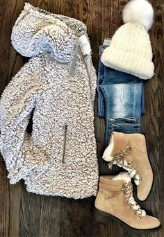 #winter #outfits beige coat, jeans, beige boots, white hat