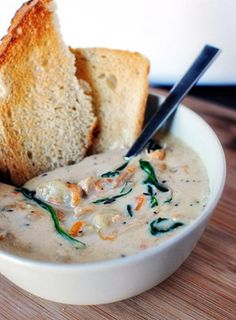 Olive Garden gnocchi  soup- The only thing besides the salad and breadsticks that is good at Olive Garden. Delicious!