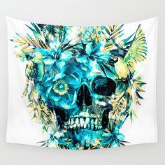 Momento Mori IV #art #print  http://www.rizapekerart.com  #skull #floral #tropical #birds #blue #society6 #collage #gift #christmas
