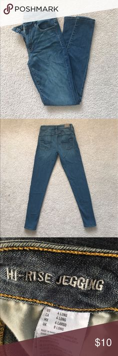 American eagle hi rise jeggings in size 4 long American eagle hi rise jeggings in size 4 long. Medium wash. Like new. American Eagle Outfitters Jeans Skinny