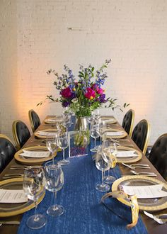 Blue table runner | Jen and Dayton Photography | see more on: http://burnettsboards.com/2015/12/vibrant-years-eve-wedding/
