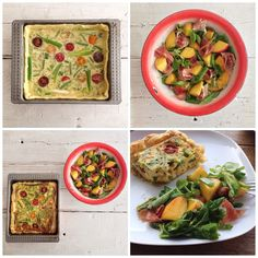 Yum, alle bordjes leeg! Groentenquiche en salade met perzik en serranoham. Recept binnenkort op chicascooking.nl. #quiche #perzik #salade #serranoham #groenten #foodies #chicascooking