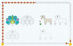 cornicette a quadretti animali - Cerca con Google Drawing Lessons, Painting Lessons, Blackwork, Pixel Drawing, Graph Paper Art, Pictures To Draw, Activities For Kids, Cross Stitch, Doodles