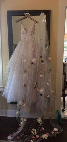 Cathedral Length Customized Floral Veil Wedding Dress Veil, Floral Wedding Dresses, Cathedral Wedding Dress, Custom Wedding Dress, Bride Veil, Wedding Dress Casual, Rapunzel Wedding Dress, Butterfly Wedding Dress, Hanging Wedding Dress