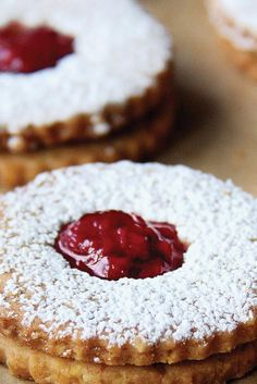 Jam-filled, vanilla-almond wafer cookies with a hint of lemon. Linzer Cookies, Wafer Cookies, Cut Out Cookies, Holiday Baking, Christmas Baking, Christmas Sweets, Cookie Recipes, Dessert Recipes, King Arthur Flour