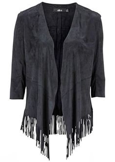 0d480cc66d1 Ladies Fringed Black Faux Suede Jacket Cardigan in UK Size 18 EU 44