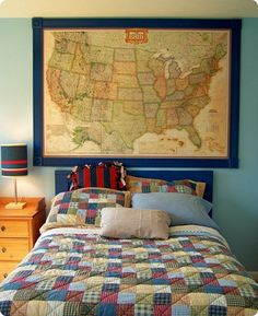 Framed wall map