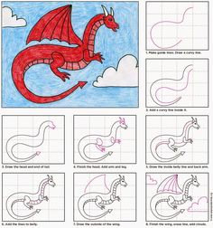 Art Projects for Kids: Draw a Red Dragon. #artprojectsforkids #howtodraw #dragon