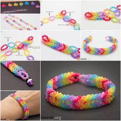How to DIY Rainbow Color Woven Beaded Bracelet