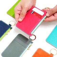 Pony flat card case zipper holder with neck strap by Donbook. The Flat card case K is a unique and well made card holder which is slim and easy to carry. Id Holder, Reusable Bags, Card Case, Hot Pink, Zip Around Wallet, Zipper, Purses, My Style, South Korea