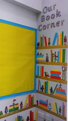 Make a wonderful book corner using story cut outs from Twinkl! Will make the wall in our book corner more interesting :) Year 2 Classroom, Ks1 Classroom, Reading Corner Classroom, Classroom Setup, Book Corner Eyfs, Reception Classroom Ideas, Book Corner Display, Classroom Displays Ks2, English Classroom Displays
