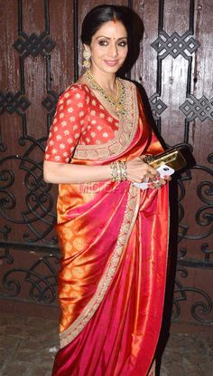 Sridevi at Anil Kapoor's residence for Karva Chauth celebrations. #Bollywood #Fashion #Style #Beauty #Hot #Saree