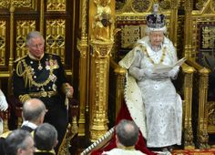 The Queen and the Prince of Wales during opening of parliament.