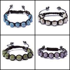 Classica Shamballa bracelet in Sky Blue, Snow, Green & Amethyst