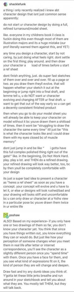 I know this talks about drawing, but it's really great advice for writing as wel. - I know this talks about drawing, but it's really great advice for writing as well. Let your chara - Writing Advice, Writing Help, Writing Prompts, Drawing Tips, Drawing Reference, Drawing Ideas, Drawing Hair, Writing Characters, You Draw