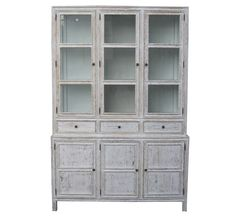 "With its sturdy mahogany wood frame in white wash finish, our Colonial Hutch exudes French style. Featuring three doors at the top, pull out drawers and three drawers at the bottom, it can accommodate dining utensils and serveware of all sizes. <BR><BR> • Mahogany Wood<br> • White Wash Finish<br> • 3 glass doors, pull out drawers and three drawers<br> • 60""W x 18""D x 90""H<br> <br> <br> <strong>Return Policy:</strong><br> This item is not eligible for returns or exchanges so please ..."