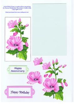 cup57283_604 - LAVATERIA DECOUPAGE for BIRTHDAY ANNIVERSARY GENERAL on Craftsuprint designed by Elaine Sheldrake - Designed using my watercolour painting of Lavateria. This pretty pink flower although old fashioned is still as popular today as it ever was and it loves to bask in the sunshine in the corner of a garden, especially against a wall or fence.  - Now available for download!