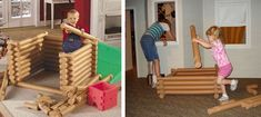 DIY Life Sized Pool Noodle Lincoln Logs. Great idea!!!