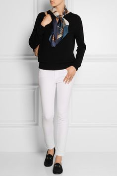The Perfect Fall Transitional Outfit - Gucci Loafers, White Jeans, Black Sweater and Silk Print Scarf
