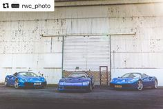 Great photo by @rwc_photo of #f40blu parked up with @fnepr and another @ferrari #488gtb at @bicesterheritage