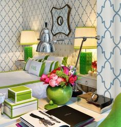 a pop of pink and green brings a room to life..