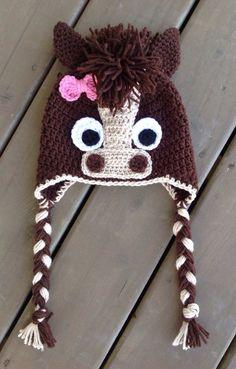 Horse Hat, Baby Crochet Hat, Newborn Photo Prop, Newborn Hat, Toddler Horse Hat on Etsy, $23.15