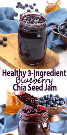 This healthy chia seed blueberry jam is a great healthy . - This healthy chia seed blueberry jam is a great healthy alternative to traditional jam - Jelly Recipes, Whole Food Recipes, Dessert Recipes, Party Desserts, Recipes With Chia Seeds, Fudge Recipes, Freezer Jam Recipes, Snack Recipes, Muffin Recipes