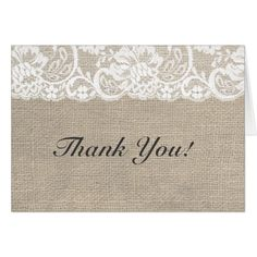 White Lace & Burlap Rustic Wedding Thank You Card