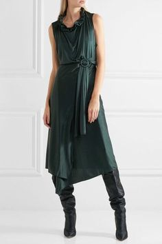 Vetements - Ruffled Cutout Silk-jersey Wrap Dress - Emerald - x small
