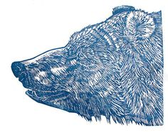 Blue Bear Linocut by janebeharrell, via Flickr