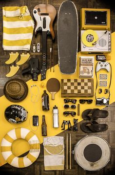 Things Organized Neatly, in yellow Things Organized Neatly, Skate Style, Shades Of Yellow, Still Life Photography, Food Photography, Mellow Yellow, Visual Merchandising, Color Inspiration, Shops