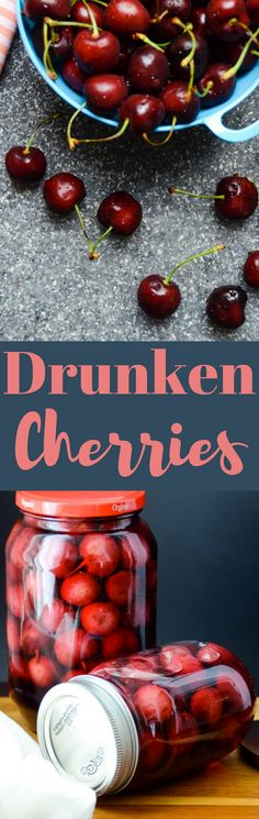 A crazy easy recipe for Drunken Cherries! 15 minutes to prep, and a sabbatical is all it takes for these boozy, gift-worthy, soused summer fruit! Cherry Recipes, Fruit Recipes, Cranberry Recipes, Dessert Recipes, Alcohol Recipes, Canning Recipes, Soup Recipes, Fun Cocktails, Gourmet