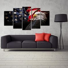 5 Pieces Canvas Prints Wall Art,Bald Eagle with the American Flag,Patriotic Theme Modern Wall Decor Stretched Gallery Canvas Wrap Giclee Print & Ready to Hang