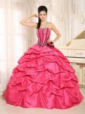 2013 Gorgeous Red Quinceanera Dress With Beaded Hand Made Flowers And Pick-ups