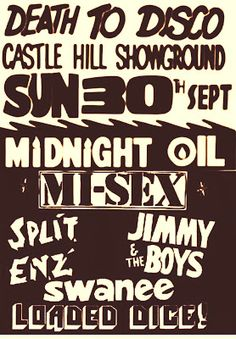 Midnight Oil: MIDNIGHT OIL - 30 Sep 1979 - «Death To Disco» Cast...