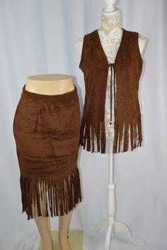 Beware Womens Medium M Brown Indian Costume Vest Skirt Fringe Knee Length #Beware