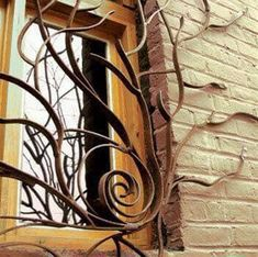 Window Grills Design: Unique window bars that could be a safety measure Iron Windows, Windows And Doors, Window Security Bars, Burglar Bars, Window Bars, Window Grill Design, Basement House Plans, Wrought Iron Gates, Outdoor Projects