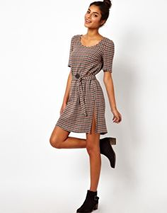 Image 4 of Love Moschino Little Checked Day Dress with Self Tie
