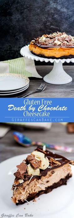 This Gluten Free Death by Chocolate Cheesecake with Brownie Crust is an easy and delicious way to satisfy even the most fervent chocoholics! It starts with a gluten free brownie crust, then creamy baked chocolate cheesecake, smothered in a rich chocolate ganache, and topped with your favourite chocolates! #chocolate #cheesecake #glutenfree via @giraffescanbake