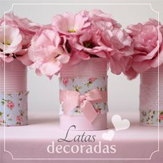 Cheap flower holder for a little girls tea party Tin Can Crafts, Diy And Crafts, Party Deco, Craft Projects, Projects To Try, Pot A Crayon, Ideas Para Fiestas, Paper Flowers, Tea Party