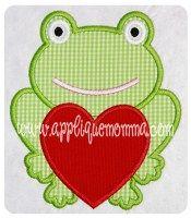 Valentine Frog Applique Design